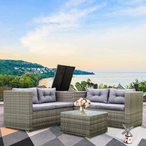 4-Piece Rattan Patio Furniture Sets, Wicker Bistro Patio Set with Ottoman, Glass Coffee Table, Outdoor Cushioned PE Rattan Wicker Sectional Sofa Set, Dining Table Sets for Backyard, Q10367