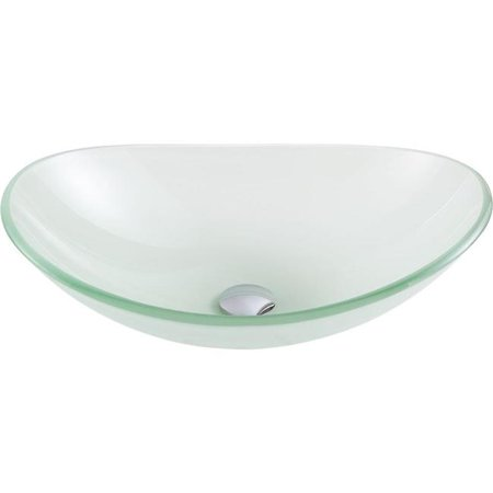 Anzzi LS-AZ086 forza Series Deco-Glass Vessel Sink in Lustrous Frosted Finish - image 1 of 5