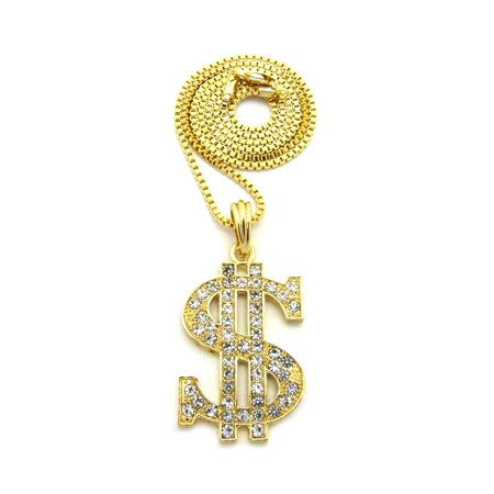 Stone Stud Straight End Dollar Sign $ Pendant with Chain Necklace - 2mm 24