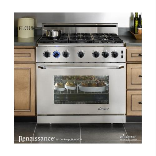 "Dacor  ER36GSCH/NG Renaissance 36"" Freestanding Range with Natural Gas  5.4 cu. ft. Convection Oven  3 Racks"