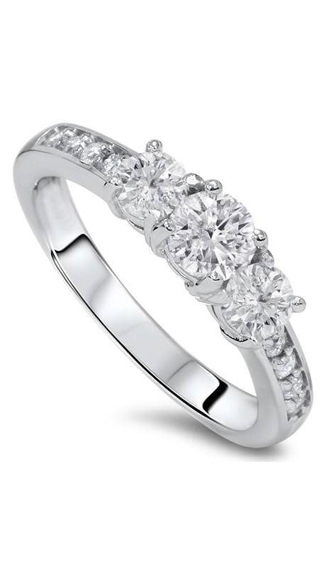1ct Diamond 3 Three Stone Engagement Ring 10K White Gold by Pompeii3