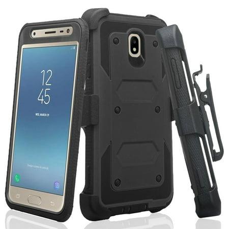 For Tracfone/StraightTalk Samsung Galaxy J3 Orbit (S367VL) Case, Shock  Proof Case w[Built In Screen Protector] Rugged Heavy Duty Belt Holster,  Black
