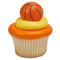24pack 3D Basketball Cupcake / Desert / Food Decoration Topper Rings with Favor Stickers & Sparkle Flakes