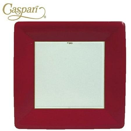 Paper Plates 6014DP Grosgrain Red Border Square Dinner Plates