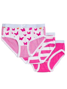 Feathers Girls Pink Butterfly Brief Underwear, 3 Pack Panties Sizes 6-16