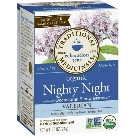 TRADITIONAL MEDICINALS Nighty organique Nuit Valériane supplément à base de plantes thé, 16 comte, .85 oz (Pack de 3)
