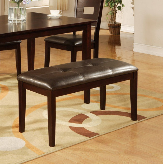 dining bench faux leather. poundex f1116 dark brown dining bench faux leather upholstered seat e