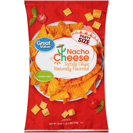 Great Value Nacho Cheese Tortilla Chips 19 Oz  Bag