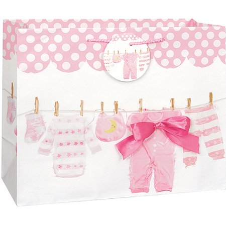 Clothesline Baby Shower Gift Bag, 13 x 10.5 in, Pink, 1ct for $<!---->