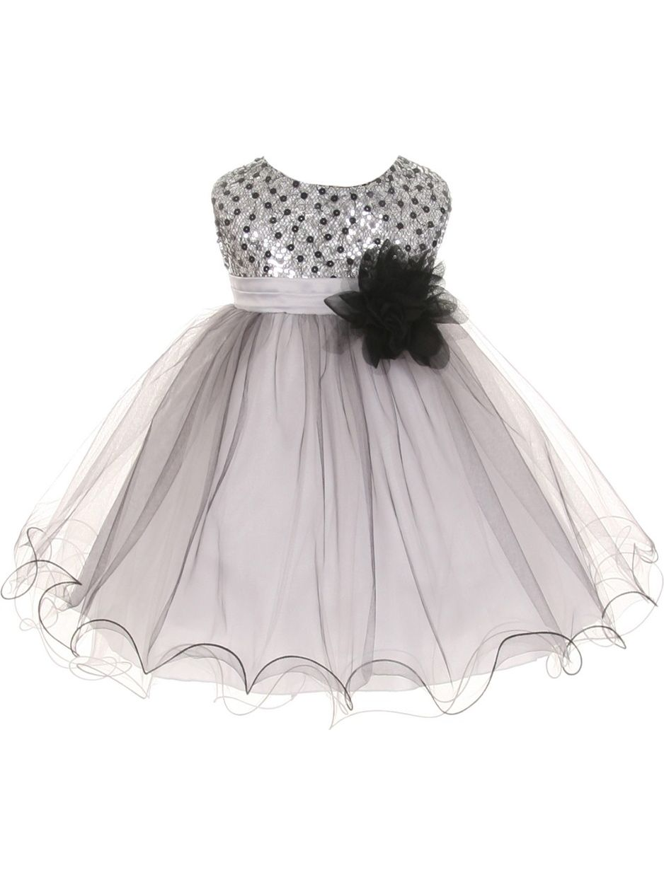Kids Dream Baby Girls Silver Multi Sequin Tulle Special Occasion Dress 24M