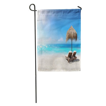 JSDART Blue Summer Two Chairs Under Parasol in Tropical Beach Caribbean Garden Flag Decorative Flag House Banner 28x40 inch - image 2 of 2