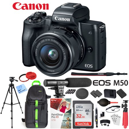 Canon EOS M50 Mirrorless Camera with 4K Video and EF-M 15-45mm Lens Kit (Black) Deluxe 32GB Triple Battery Bundle with Shotgun Mic, Deco Gear Backpack, Tripod and