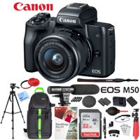 Canon EOS M50 Mirrorless Camera with 4K Video and EF-M 15-45mm Lens Kit (Black) Deluxe 32GB Triple Battery Bundle with Shotgun Mic, Deco Gear Backpack, Tripod and More