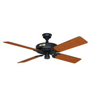 "Hunter 52"" Hunter Original Damp Rated Matte Black Ceiling Fan with Pull Chain"