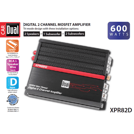 Dual Electronics XPR82D 2/1 High Performance Power MOSFET Class D Car Amplifier with 600-Watts of Dynamic Peak (Mackie Power Amps)