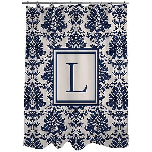 MWW, Inc. Thumbprintz Damask Monogram Blue Shower Curtain
