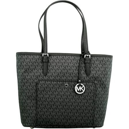 Women's Large Jet Set Top Zip Snap Pocket Leather Shoulder Bag Tote - Black
