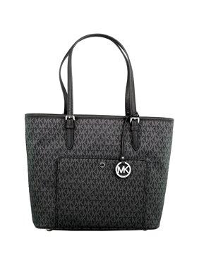 ab32f6b5e6 Product Image Women s Large Jet Set Top Zip Snap Pocket Leather Shoulder Bag  Tote - Black. Sponsored product. Michael Kors