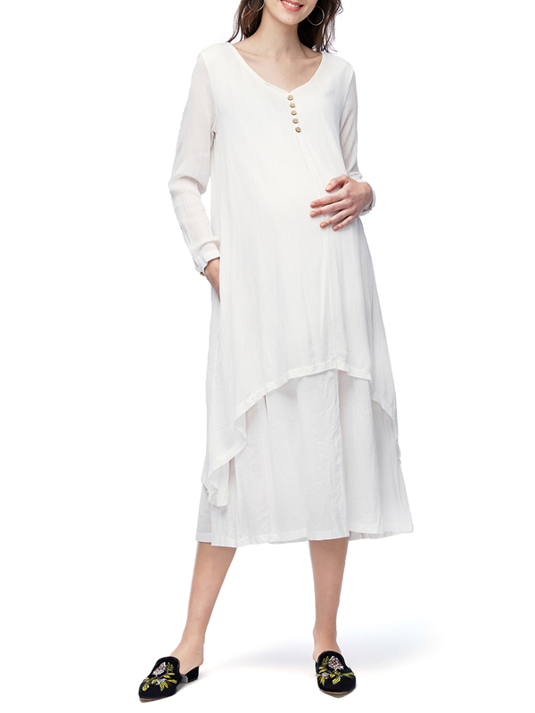 Maternity Double Layers Long Spring Fall Loose Maxi Tunic Dresses