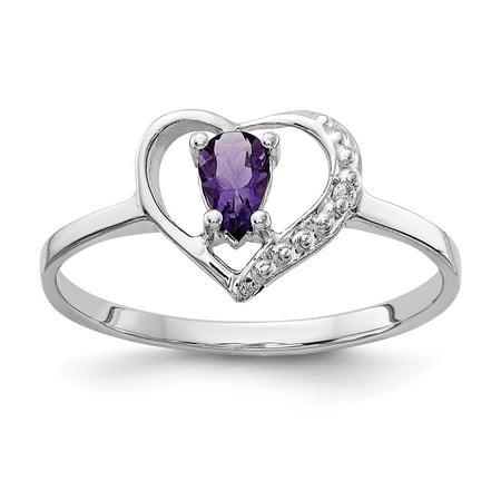 Heart 6 Inch Jewel - 14k White Gold Polished .01ct. Diamond & 5x3 Pear Gemstone Heart Ring Mount - Size 6