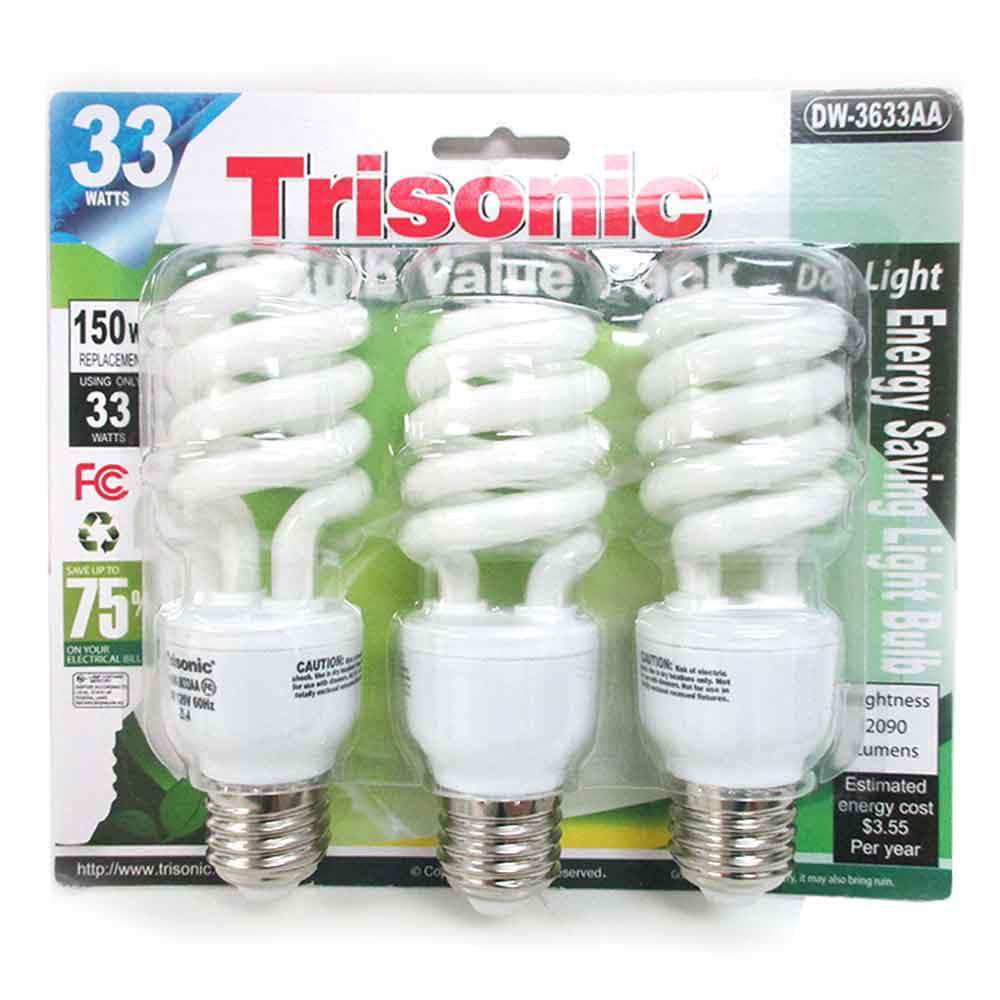 3 Pc Daylight Light Bulb Energy 150 Watts White Compact Fluorescent 2090 Lumens
