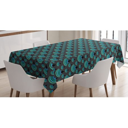 Geometric Tablecloth, Vintage Trippy Artful Half Circled Vertical Crescent Japanese Print, Rectangular Table Cover for Dining Room Kitchen, 60 X 90 Inches, Jade Green Charcoal Grey, by Ambesonne Jade Glass Circle