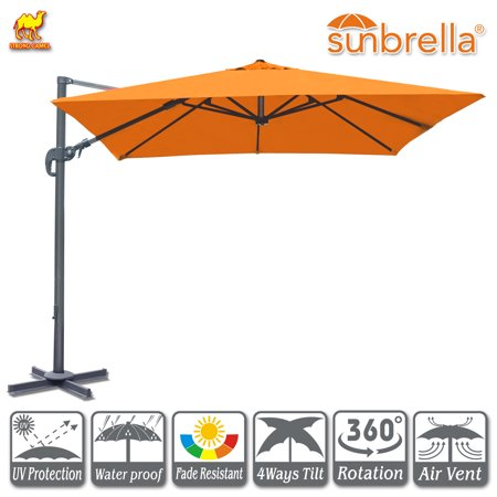 10 Deluxe Umbrella (Strong Camel 10'x10' Off-Set Hanging Roma Umbrella Deluxe Sunbrella Patio Umbrella Tilt & 360 Rotation Patio Heavyduty Outdoor Sunshade Cantilever Crank(Steel Cross Base is)