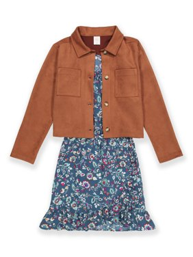 Wonder Nation Girls Shacket and Dress, 2-Piece Outfit Set, Sizes 4-18 & Plus