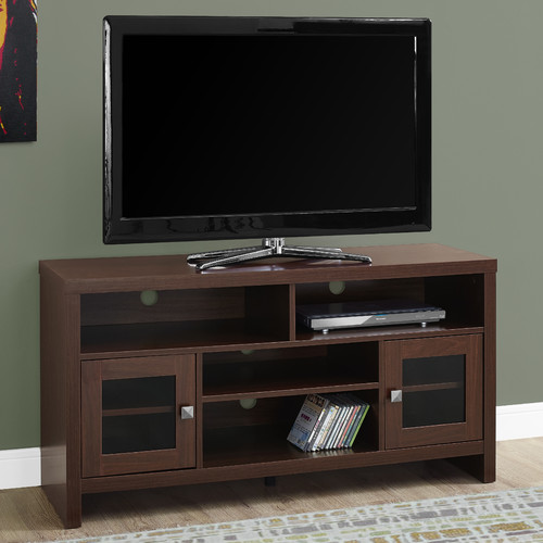 """Monarch Tv Stand Warm Cherry With Glass Doors For TVs Up To 48""""L"""