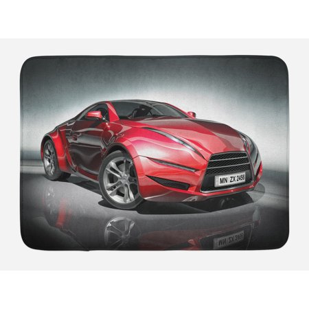 Cars Bath Mat, Modern Era Sports Car Designed for Spirited Performance and Fast Speed Racing Print, Non-Slip Plush Mat Bathroom Kitchen Laundry Room Decor, 29.5 X 17.5 Inches, Silver Red, -