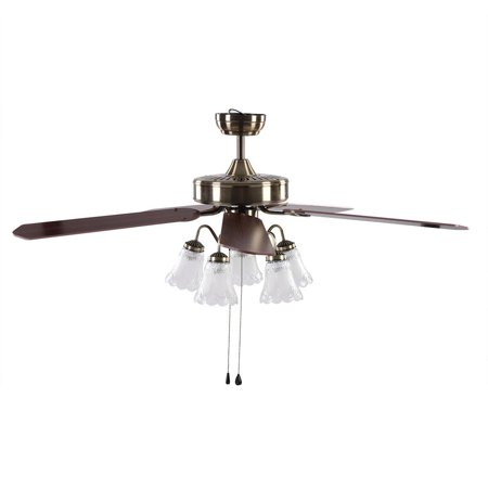 WALFRONT 52  LED Ceiling Fan 3 Speed levels Lights & Reversible 4 Blades Ceiling Fan,3 Speed levels LED Ceiling Fan, Push Switch Ceiling Fan