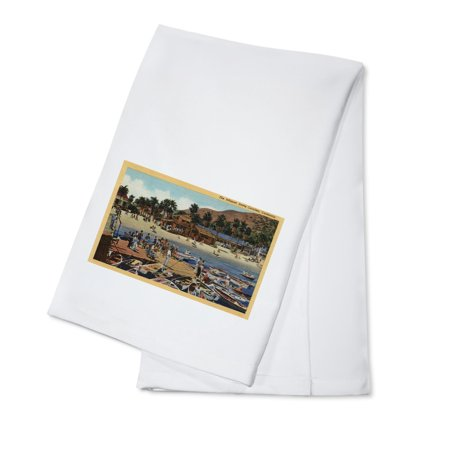 View of the Isthmus Harbor with Swimmers (100% Cotton Kitchen - Swimmers Towel