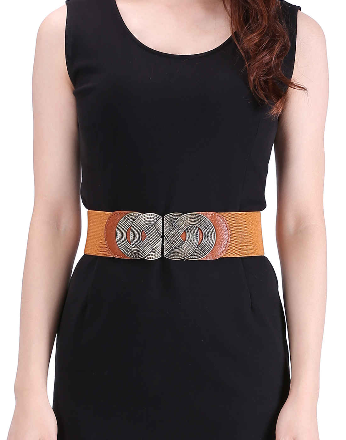 HDE Women's Elastic Cinch Belt with Infinity Style Buckle and Stretch Waist Band (Brown, XS-M)