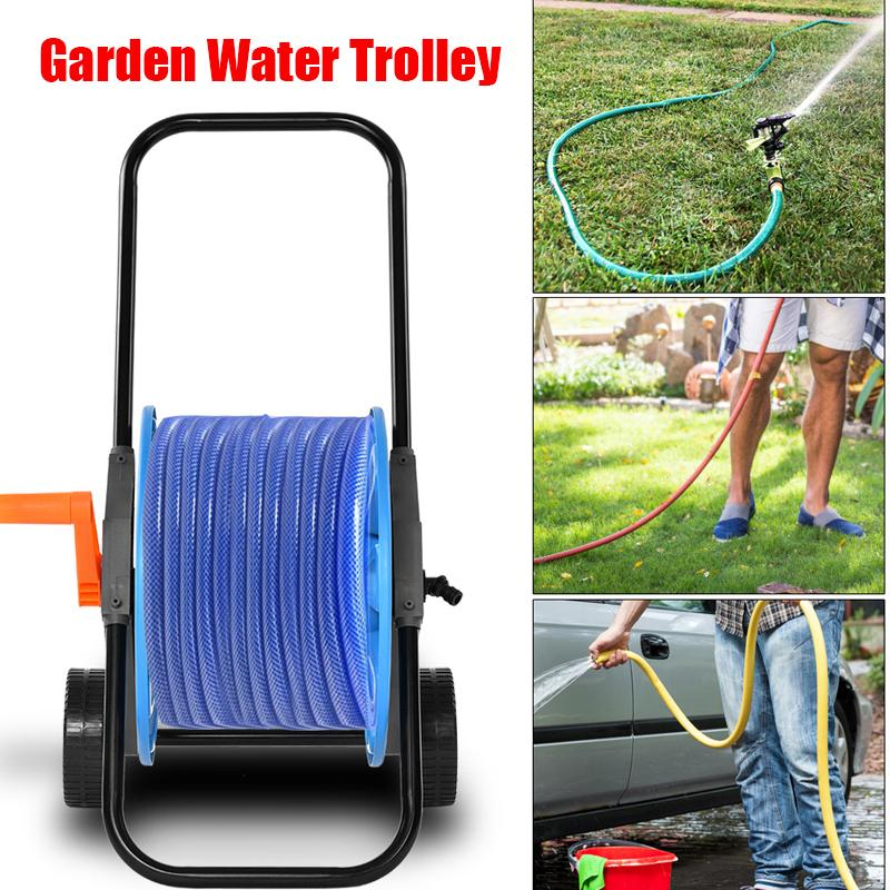 New 60m Hose Pipe Reel Holder Trolley Cart Garden Water Portable Free Standing