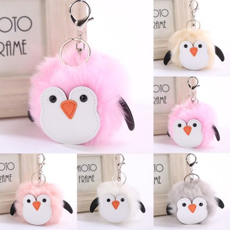 Penguin Keychain (Girl12Queen Cute Penguin Soft Faux Fur Handbag Phone Car Pendant Girls Keychain Key)