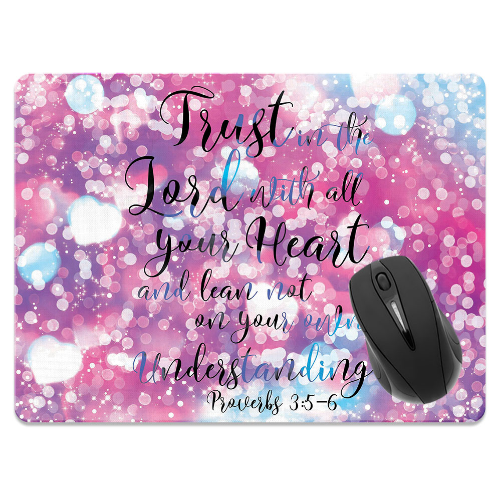 FINCIBO X-Large Size Rectangle Standard Mouse Pad, Sparkle Pastel Proverbs 3:5-6
