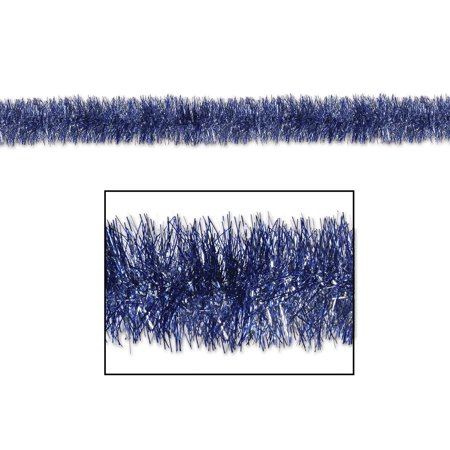 100' Decorative Gleam 'N Tinsel Shiny Blue and Silver Christmas Garland - Unlit (Blue And Silver Tinsel)