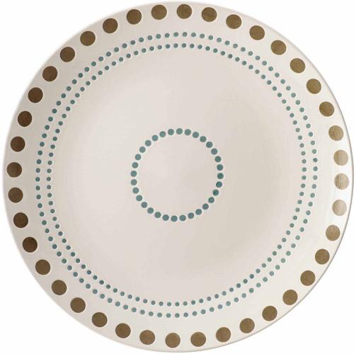 "Rachael Ray Cucina Sun Daisy Dinnerware 10-3/4"" Stoneware Dinner Plate, Agave Blue"