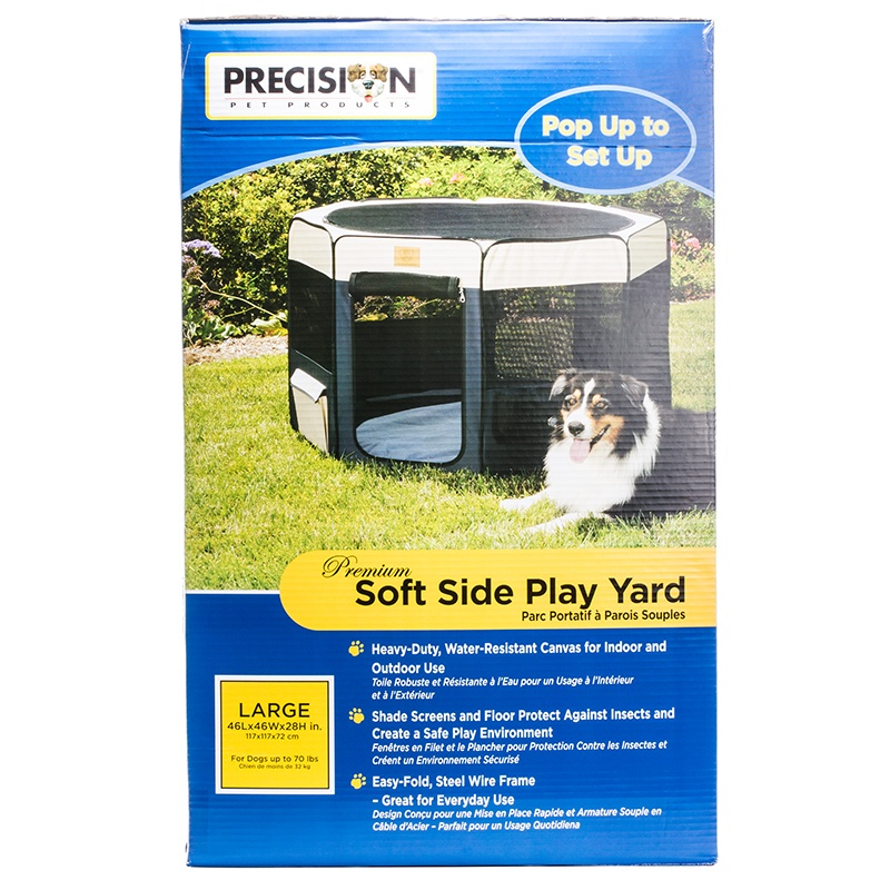 "Precision Pet Premium Soft Side Play Yard Large - Dogs up to 70 lbs - (46""L x 46\""W x 28\""H)"