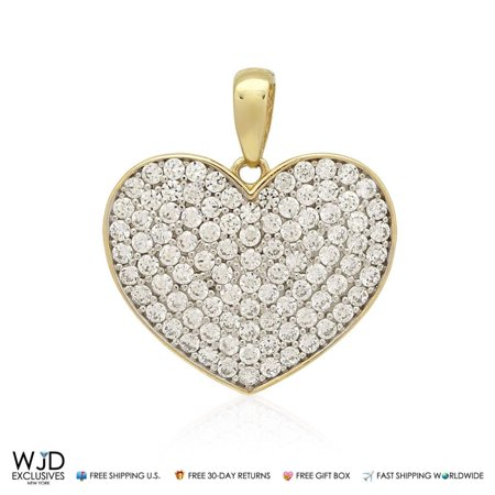 14K Solid Yellow Gold 1Ct Round Cut Pave Set Simulated Diamond Heart (Pave Set Round Diamond Pendant)