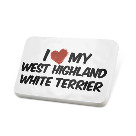 Porcelein Pin I Love my West Highland White Terrier Dog from Scotland Lapel Badge – NEONBLOND