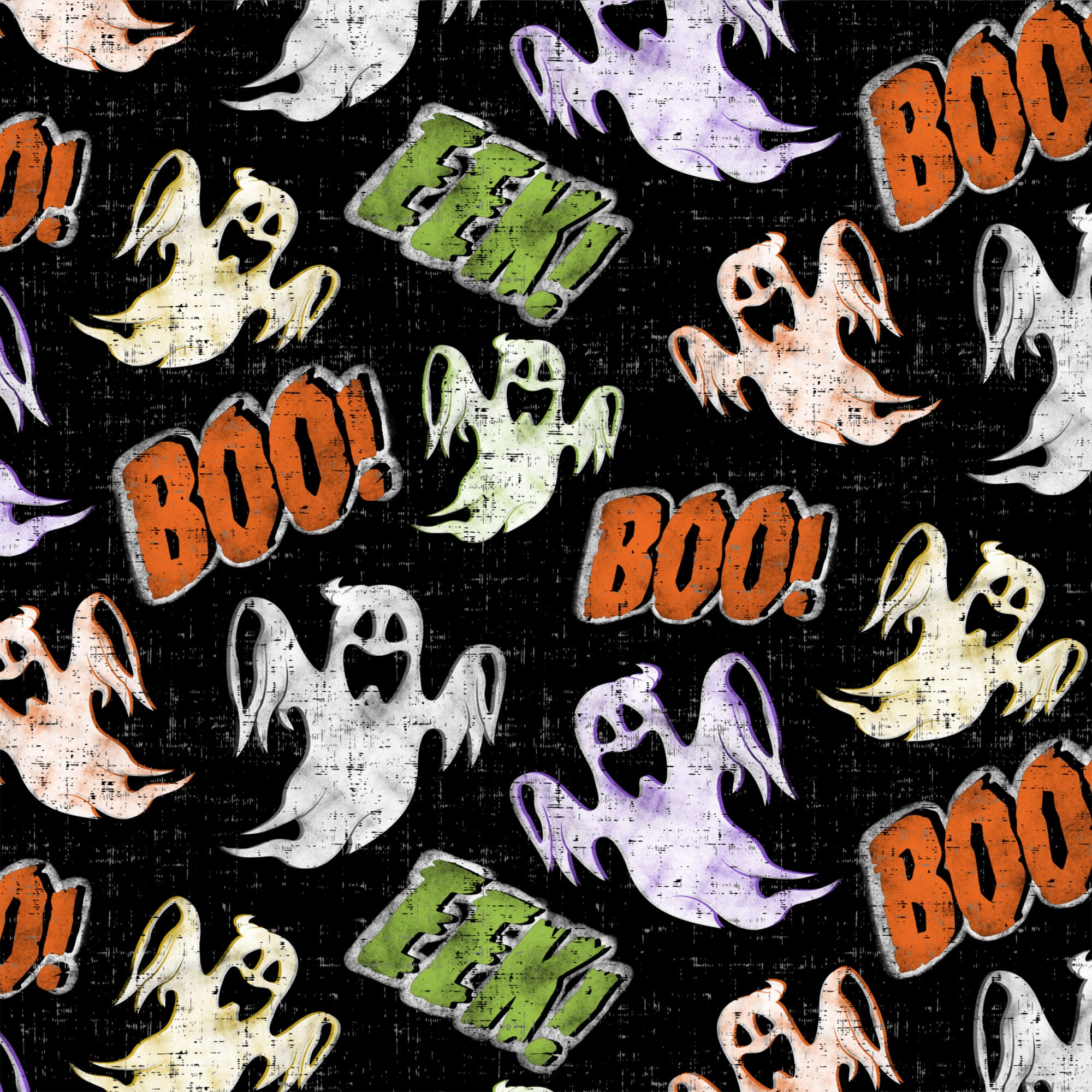 DAVID TEXTILES SPOOKY GHOSTS 1 YD. CUT COTTON FABRIC