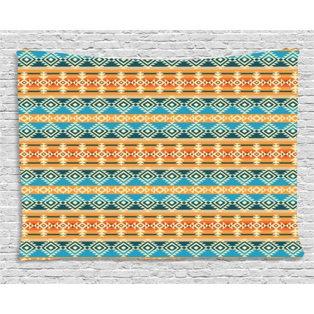 Southwestern Wall Hanging (Southwestern Tapestry, Striped Backdrop with Geometric Tribal Motifs Native Mexican Cultural Heritage, Wall Hanging for Bedroom Living Room Dorm Decor, 60W X 40L Inches, Multicolor, by)