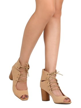 8bbc206a02e Product Image New Women Qupid Cylinder-03 Faux Suede Peep Toe Lace Up  Cylinder Heel Bootie