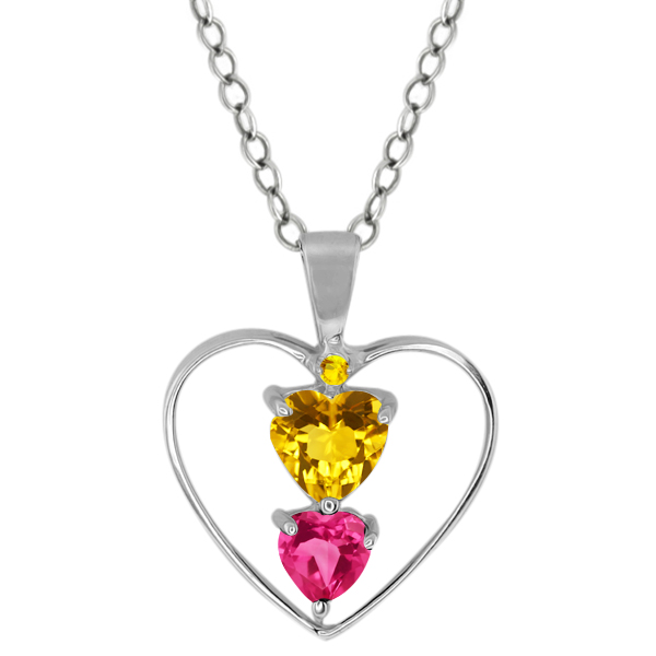0.83 Ct Heart Shape Yellow Citrine Pink Mystic Topaz 14K White Gold Pendant