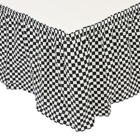 Plastic Black White Checkered Pleated Table Skirt Racing Party Decoration