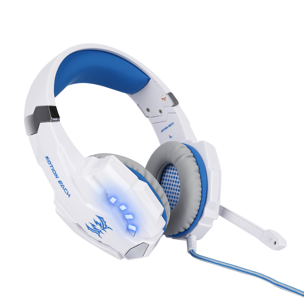 2017 USB Surround Sound Stereo Gaming Headset PC Computer Headphones Over Ear with Mic, Noise Reduction, Volume Control, LED For Gamers(White Blue)