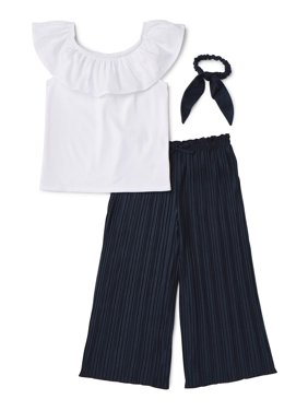 Wonder Nation Smocked Off The Shoulder Top and Gaucho Pant, 2-Piece Outfit Set With Scrunchie (Little Girls, Big Girls & Girls Plus)