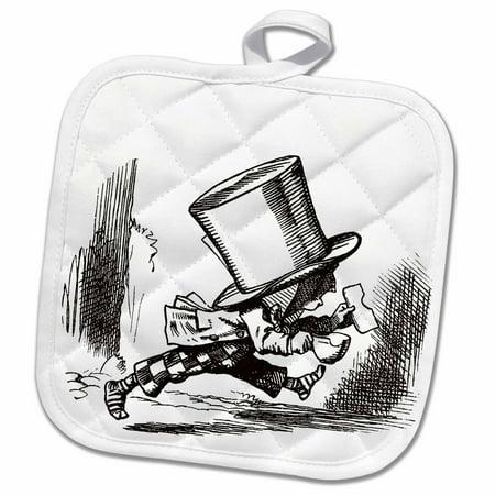 3dRose Alice in Wonderland Mad Hatter - Pot Holder, 8 by 8-inch (Black And White Mad Hatter)