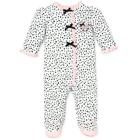 Perfect Poodle Snap Front Footie Pajamas For Baby Girls Sleep N Play One Piece Romper Coverall Cotton Infant Footed Sleeper; Pijamas Para Bebes- Pink -White/Black - Newborn](Poodle Girl)